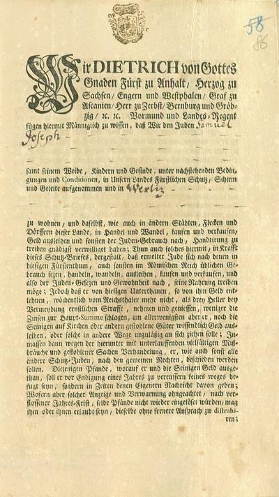 Schutzbrief für Samuel Joseph (S. 1), 1758